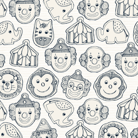 circus cookies indigo ivory small fabric by scrummy on Spoonflower - custom fabric