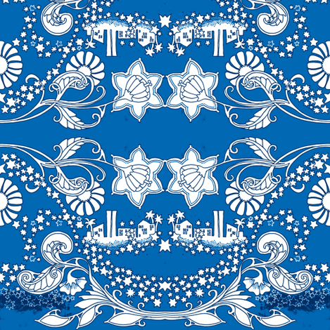 Fireworks at the Blue Lagoon fabric by edsel2084 on Spoonflower - custom fabric