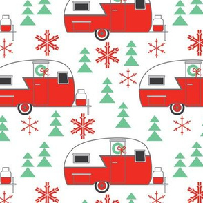vintage christmas trailers on white