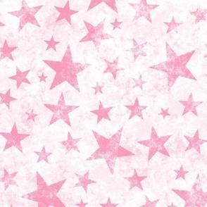 Grunge Distressed Stars Pink on White