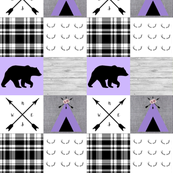 Purple bear and tipi wholecloth
