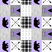 Purple bear and tipi wholecloth rotated