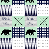 Little man wholecloth in mint and navy bear
