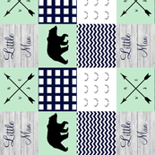 Little man navy and mint bear wholecloth rotated