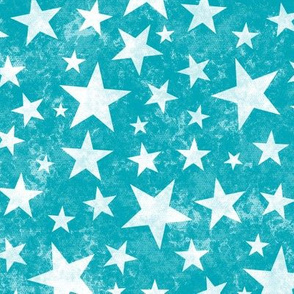 Grunge Distressed Stars White on Aqua Blue