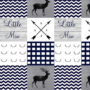 Little man navy and gray wholecloth