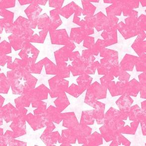 Grunge Distressed Stars White on Pink