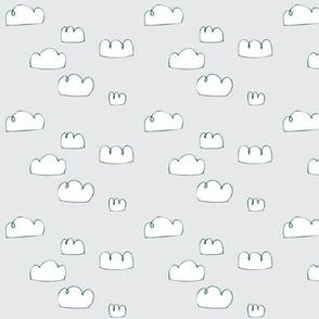 clouds mini teal/pale grey mist