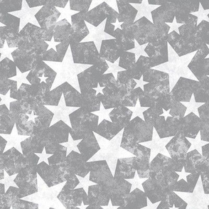 Grunge Distressed Stars White on Grey