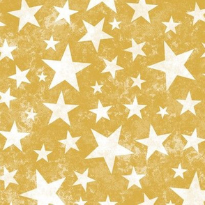 Grunge Distressed Stars White on Mustard Yellow