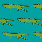 gators on aqua blue