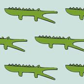 gators on pale grey blue