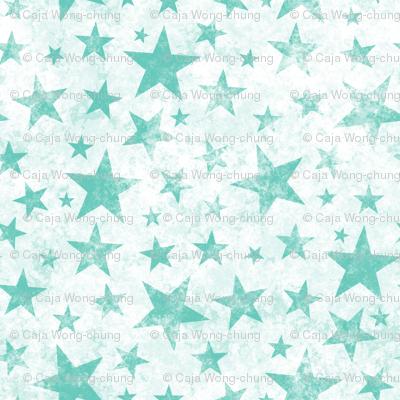 Grunge Distressed Stars Mint Green on White