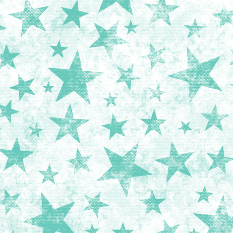 Grunge Distressed Stars Mint Green on White fabric by caja_design on Spoonflower - custom fabric