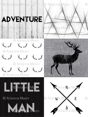 Little man charcoal adventure wholecloth