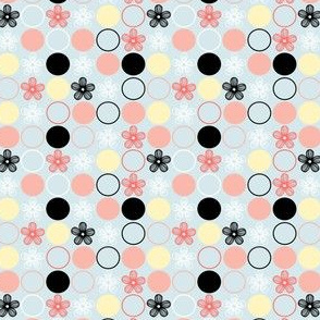 Polka Dots and Flowers in Peach, Black, Yellow, Blue