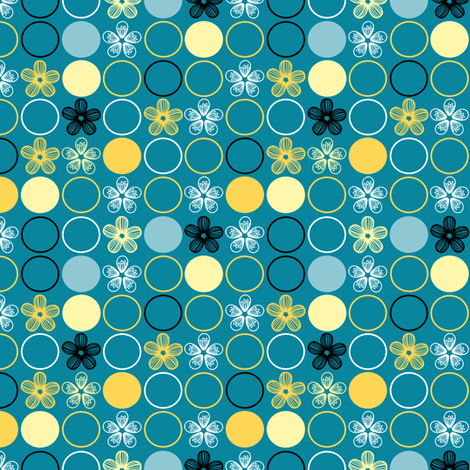Polka Dots and Flowers in Teal and Yellow by Amborela fabric by amborela on Spoonflower - custom fabric