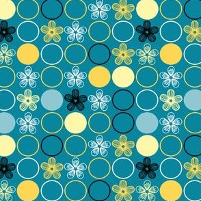 Polka Dots and Flowers in Teal and Yellow by Amborela
