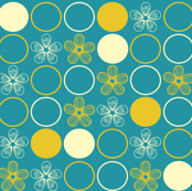 Polka Dots and Flowers in Teal and Yellow