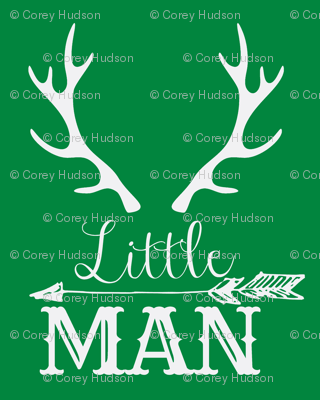 Little Man Arrow & Horns White on Green