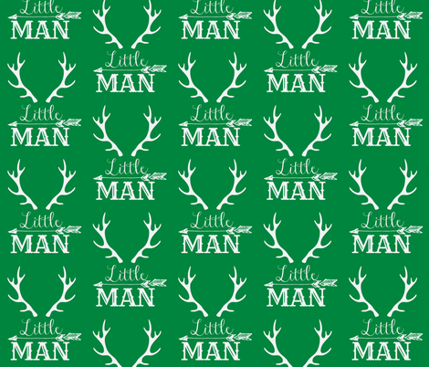Little Man Arrow & Horns White on Green fabric by hudsondesigncompany on Spoonflower - custom fabric