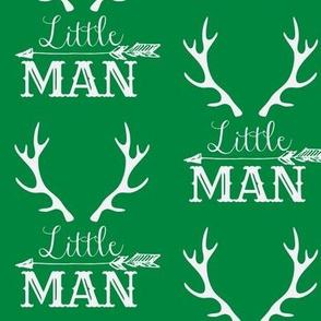 Little Man Arrow & Horns White on Green