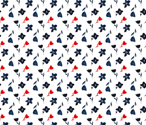 Watercolor navy blue and red flowers fabric by katerinaizotova on Spoonflower - custom fabric