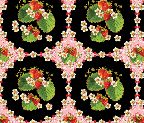 Strawberries Medallion Pink Paisley fabric by patriciasheadesigns on Spoonflower - custom fabric