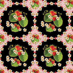 Strawberries Medallion Pink Paisley