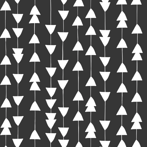 Arrowhead - Geometric Black  fabric by heatherdutton on Spoonflower - custom fabric