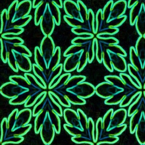 Neon Bordered Floral - Green on Black
