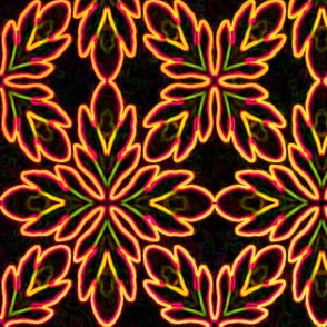 Neon Bordered Floral - Orange on Black