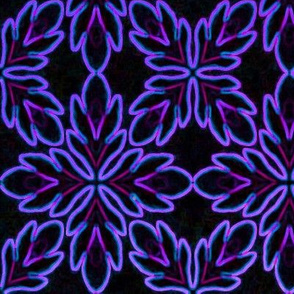 Neon Bordered Floral - Purple on Black