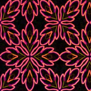 Neon Bordered Floral - Red on Black