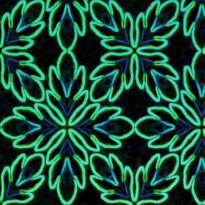 Neon Bordered Floral - Teal on Black