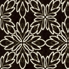 Neon Bordered Floral - White on Black