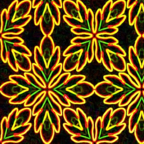 Neon Bordered Floral - Yellow on Black