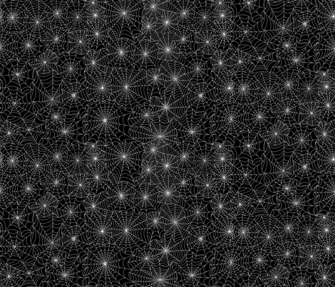 spiderweb spooky white on black fabric houseofheasman
