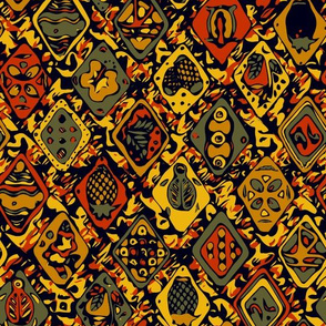Hawaiian Diagonal Traditional Pattern - Yellow_Green_Black_Red