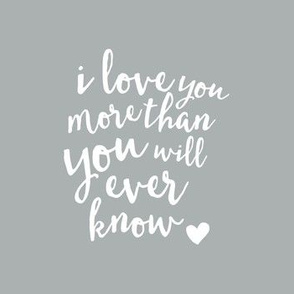 8x7 quilt blocks - I love you more than you will ever know.