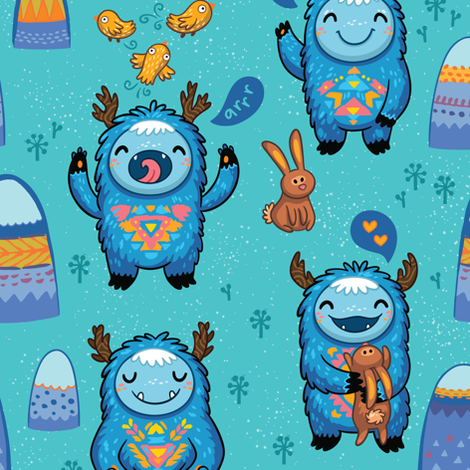 Turquoise Forest monsters fabric by penguinhouse on Spoonflower - custom fabric