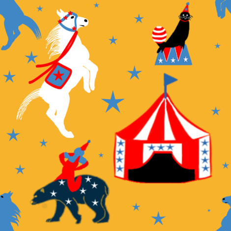 Circus of the Past on a Starry Night fabric by gargoylesentry on Spoonflower - custom fabric