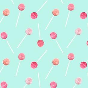 lollipop - pink on mint
