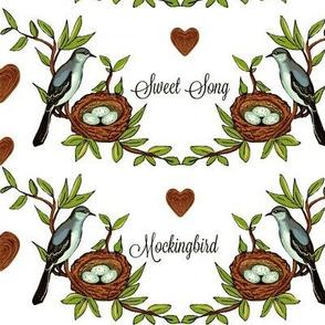 Sweet Song Mockingbird -on white