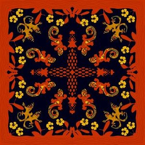 Hawaiian Quilt with Gecko and Hibiscus Red Yellow Green Black