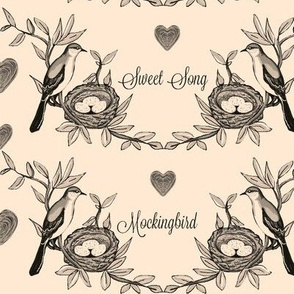 Sweet Song Mockingbird -aged toile