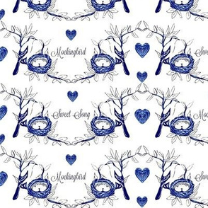 Sweet Song Mockingbird -blue and white toile