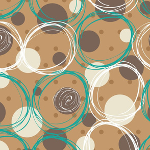 brown and turquoise circles