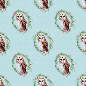 Sooty Owl Linen Green Wreath Pale Blue