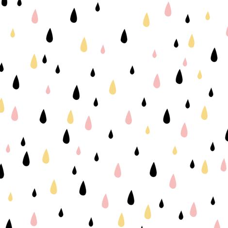Rain drops - Gold Blush Black fabric by kimsa on Spoonflower - custom fabric